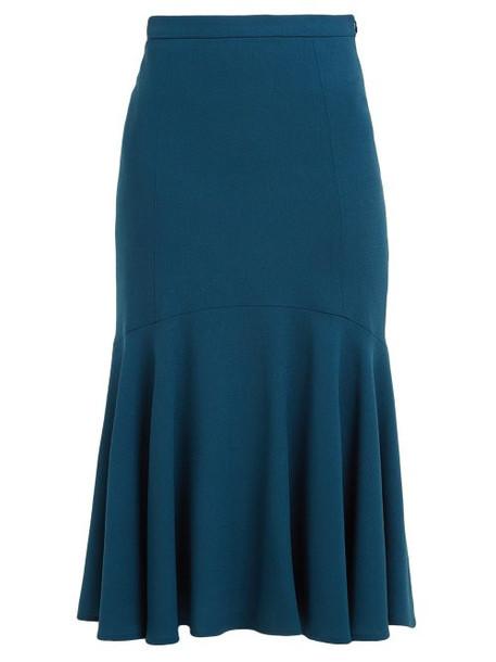 Goat - Inga Fluted Wool Crepe Midi Skirt - Womens - Dark Green