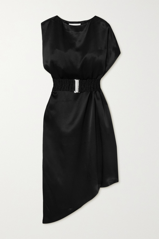 ENVELOPE ENVELOPE1976 - + Net Sustain Bordeaux Asymmetric Belted Satin Dress - Black