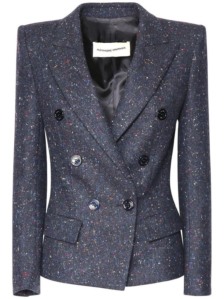 ALEXANDRE VAUTHIER Fitted Wool Tweed Jacket in navy