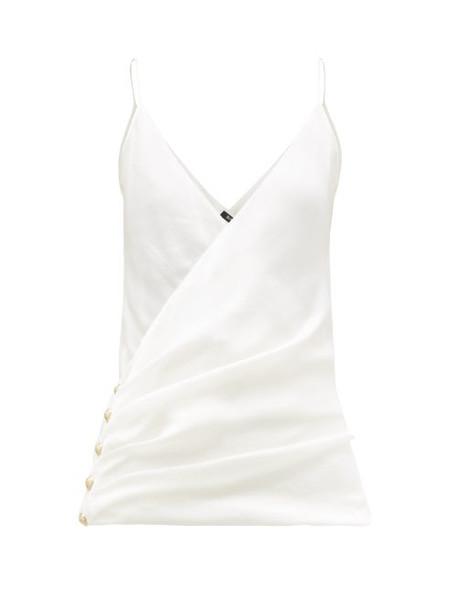 Balmain - Wrap Effect Silk Camisole Top - Womens - Ivory
