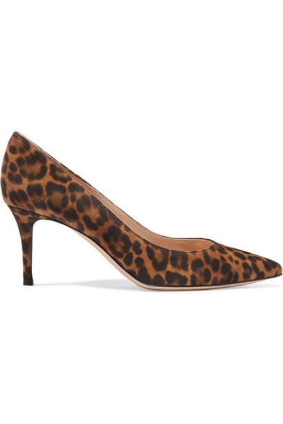 Gianvito Rossi - 70 Leopard-print Suede Pumps - Leopard print