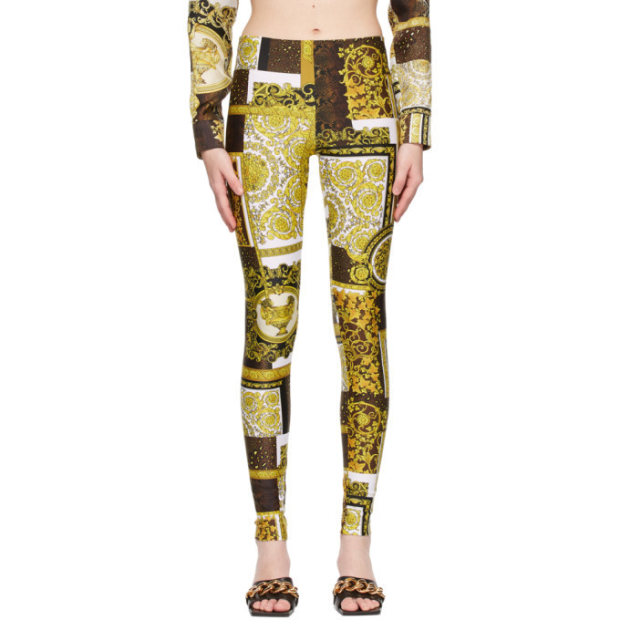 Versace White Barocco Patchwork Print Leggings in gold