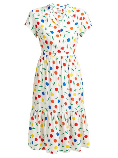Hvn - Charlotte Cherry Print Ruffled Silk Midi Dress - Womens - White Multi