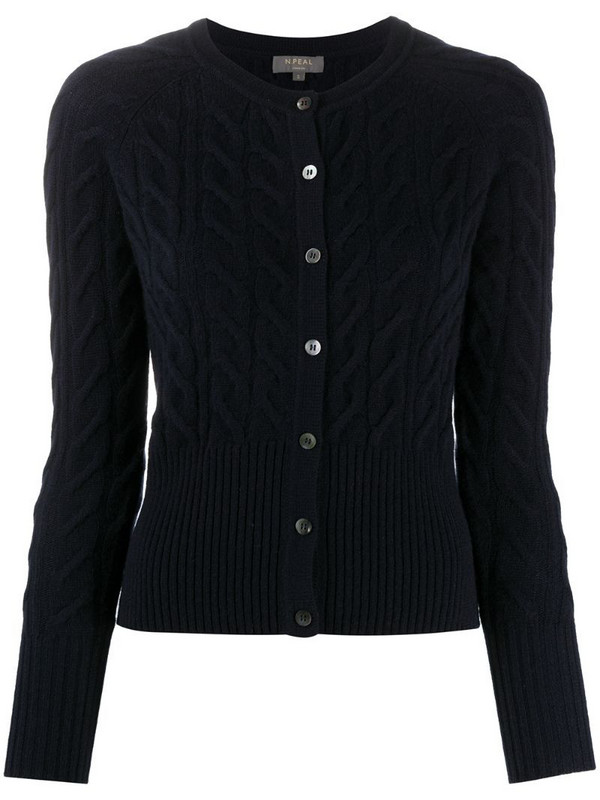 N.Peal cable knit cardigan in blue