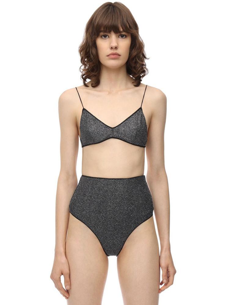 OSÉREE SWIMWEAR High Waist Lurex & Lycra Bikini in grey
