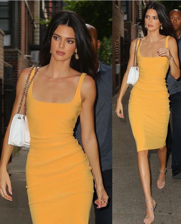 dress kendall and kylie jenner kendall jenner orange yellow dress yellow