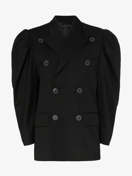 Blindness puff sleeve double-breasted blazer in black