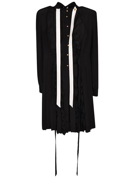 Miu Miu Mid-length Crepe Detail Dress in nero