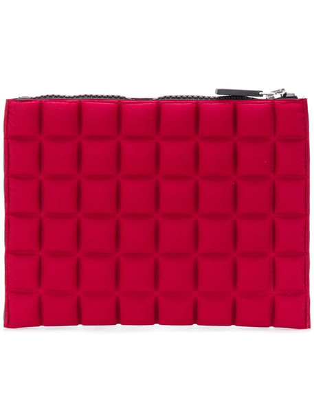 No Ka' Oi waffle-textured clutch bag in red
