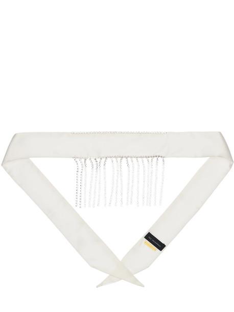 LES INCONNUS Bianca Silk Satin Choker Scarf W/crystal in white