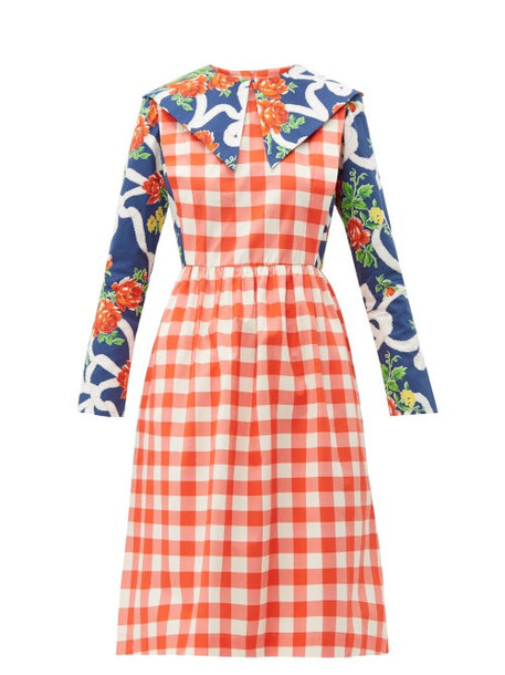 Batsheva - Gingham And Floral Print Cotton Dress - Womens - Multi