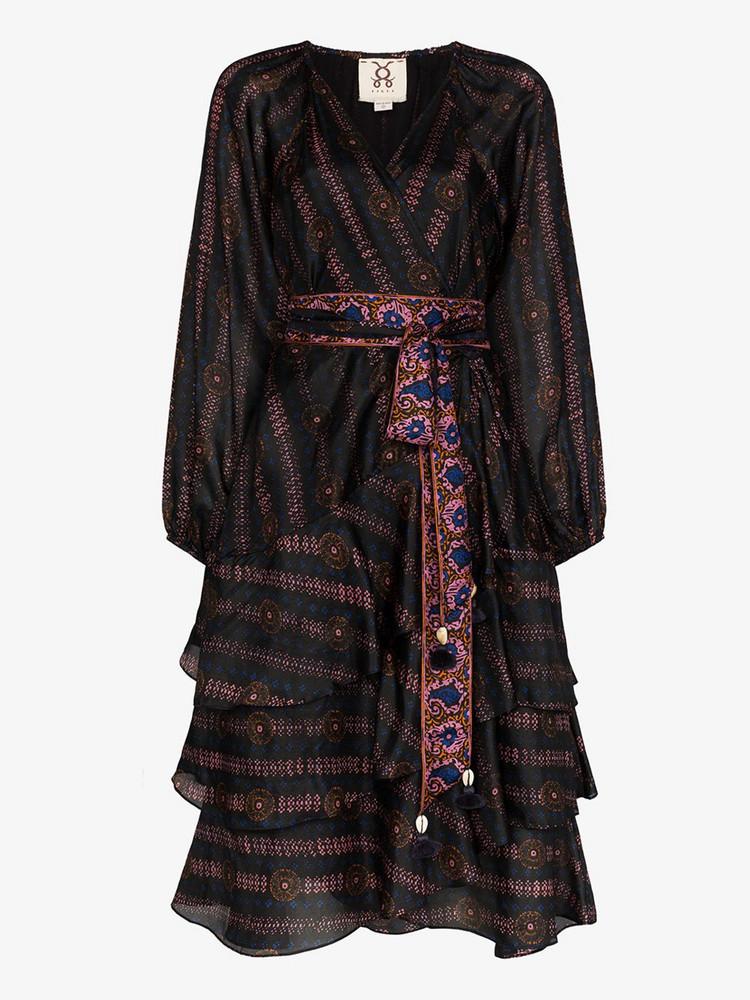 Figue Kira printed V neck silk dress in black