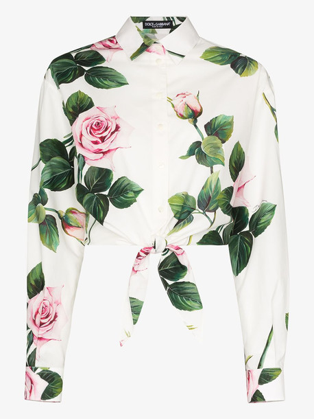 Dolce & Gabbana rose print tie waist cotton shirt