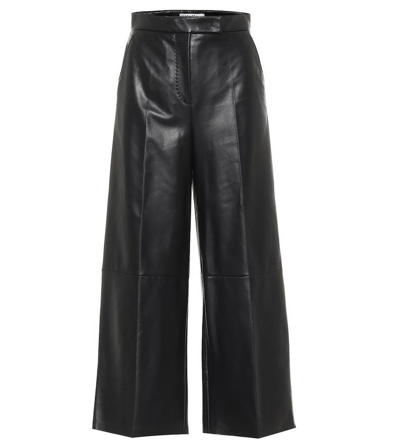 Max Mara Ravel high-rise wide-leg leather pants in black