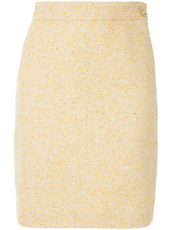 Gucci high-waisted tweed skirt in yellow