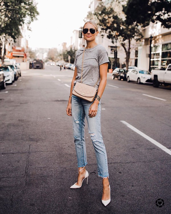 jeans ripped jeans cropped jeans pumps grey t-shirt crossbody bag