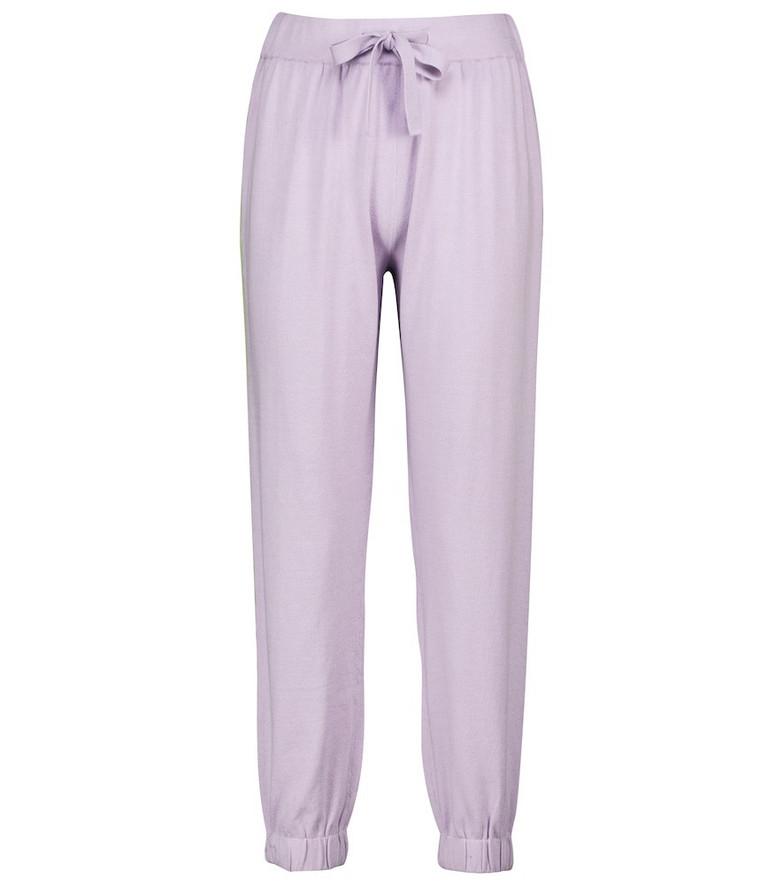 Live The Process Moyen silk-blend sweatpants in purple