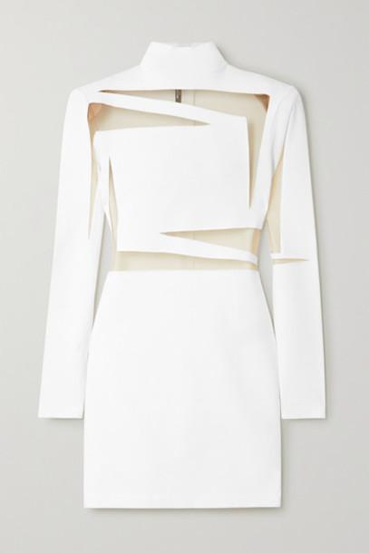 Balmain - Tulle-paneled Stretch-knit Mini Dress - White