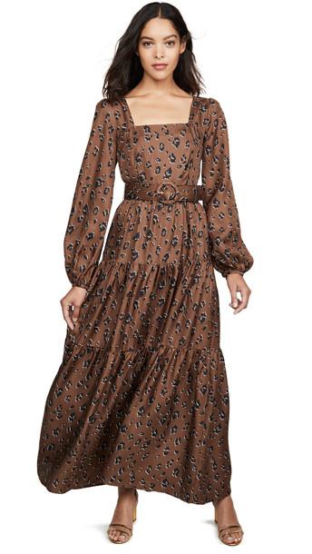 Nicholas Tiered Maxi Dress in leopard