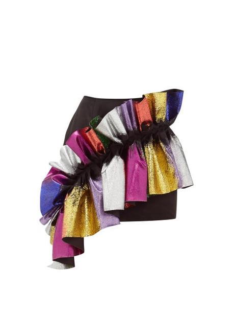 Germanier - Glittered Ruffle Satin Mini Skirt - Womens - Black Multi
