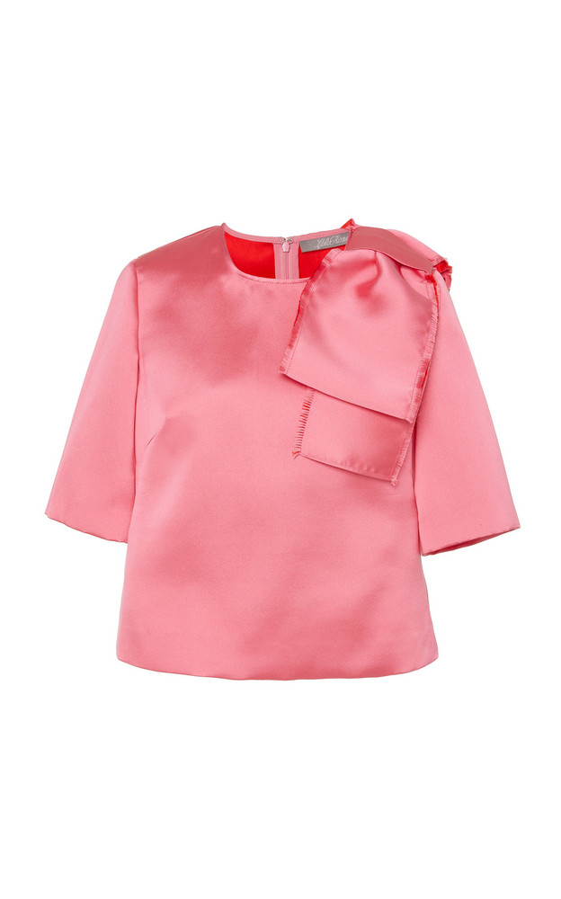 Lela Rose Bow-Detailed Crepe Blouse Top in pink