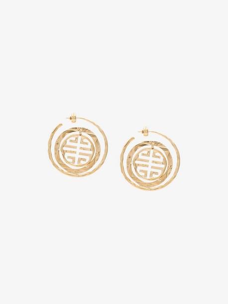 Givenchy gold tone Seal Circle logo earrings