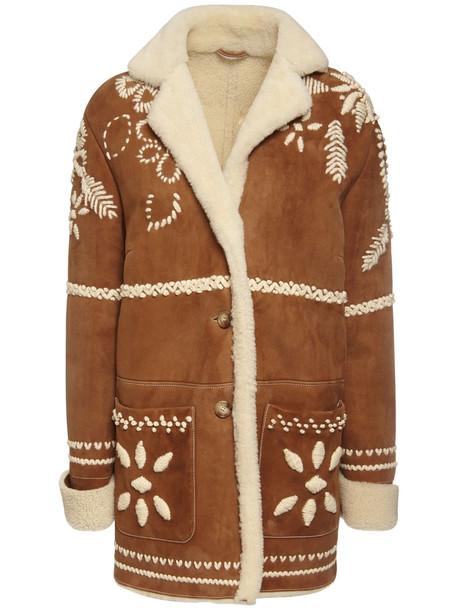 ERMANNO SCERVINO Leather Shearling Jacket in brown / beige