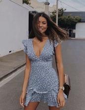 dress,summer,floral,blue,v neck,ruffle,floraldress,blue dress,vneck dress,blue floral dress,floral dress,mini dress,blue mini dress,summer dress