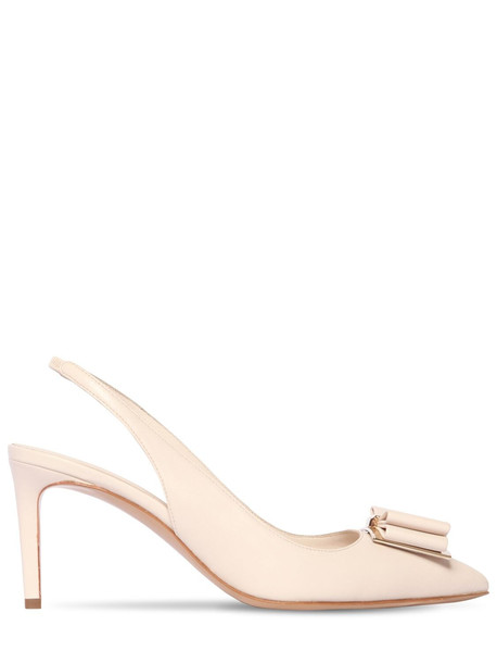 SALVATORE FERRAGAMO 70mm Zahir Leather Sling Back Pumps in white