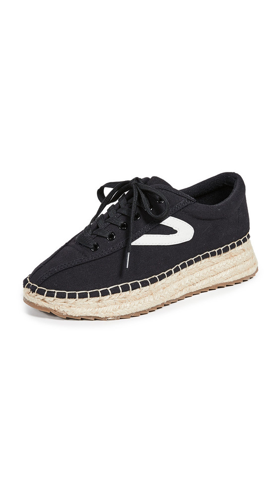 Tretorn Nave Lace Up Espadrilles in black / white