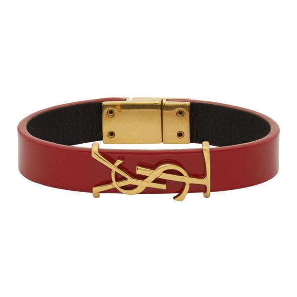 Saint Laurent Red Patent Leather Opyum Bracelet
