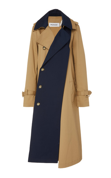 MONSE Two-Tone Cotton-Blend Trench Coat Size: M in neutral