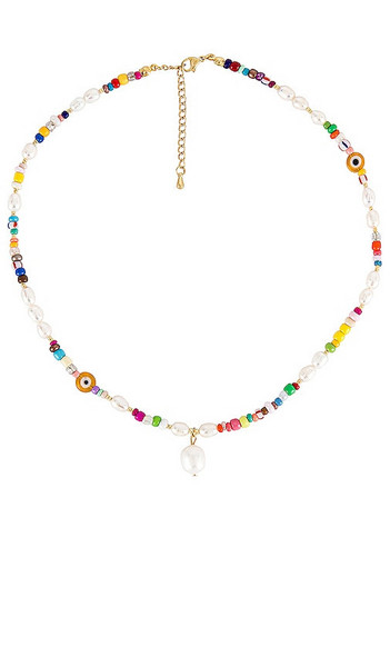 petit moments Beaded Pearl Drop Necklace in White in multi