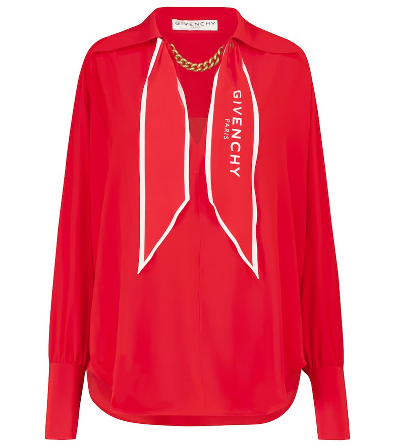 Givenchy Chain-trimmed silk blouse in red
