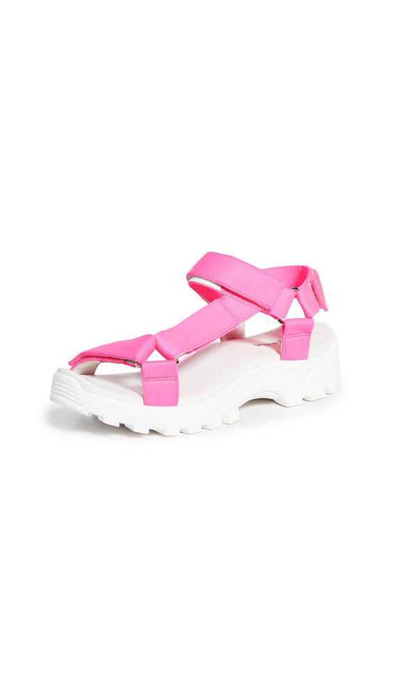 Jeffrey Campbell Patio Strappy Sandals in fuchsia / white