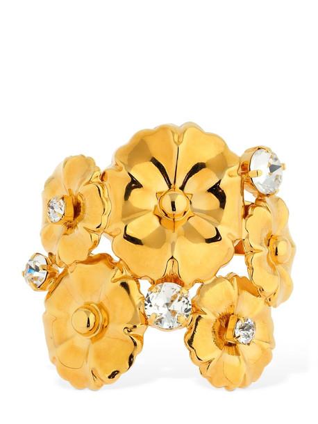 CA & LOU Ortensia Flower Cuff Bracelet W/crystals in gold