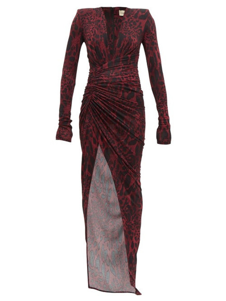 Alexandre Vauthier - Ruched Lynx Print Stretch Jersey Dress - Womens - Burgundy Print