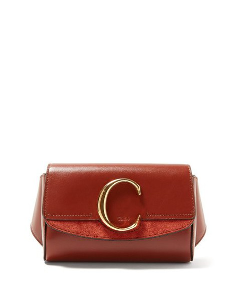 Chloé Chloé - The C Leather And Suede Belt Bag - Womens - Dark Brown