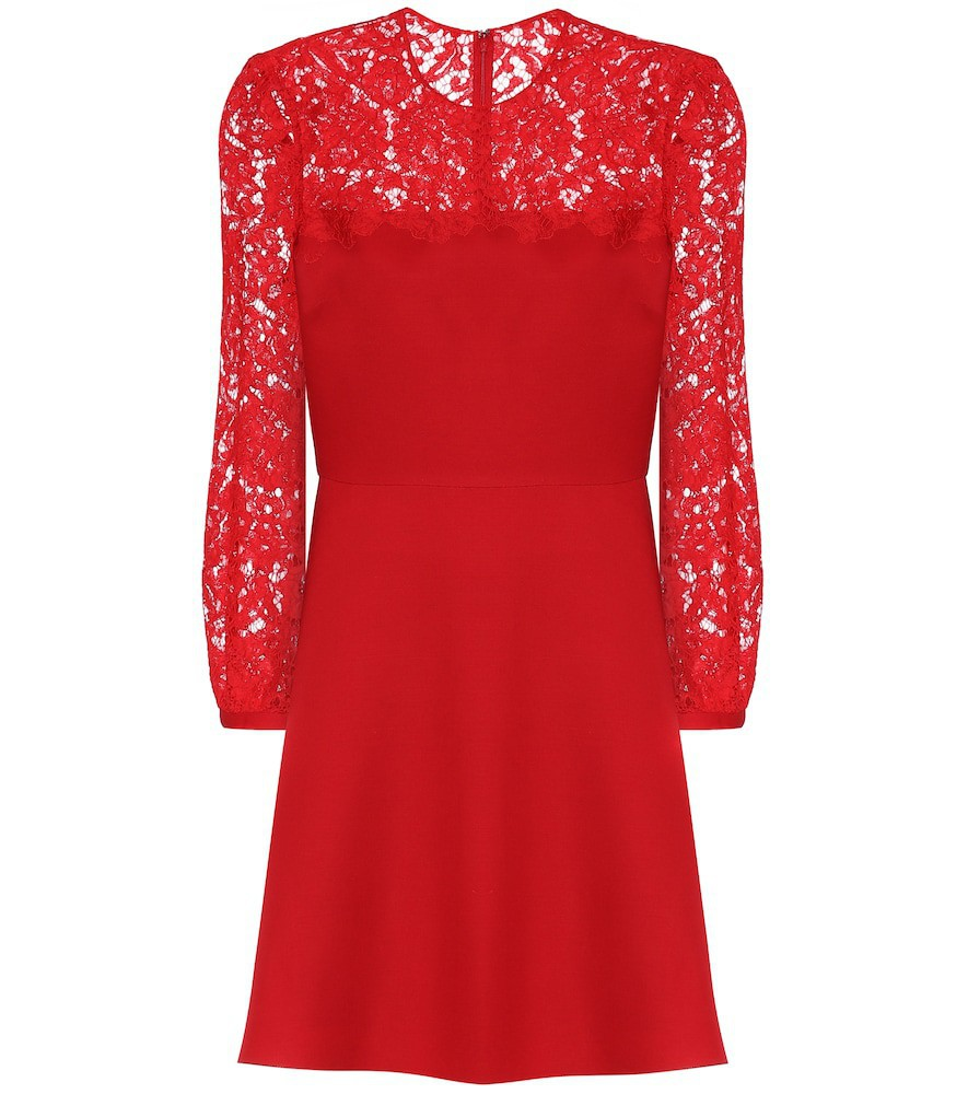 Valentino Lace-trimmed wool and silk minidress in red