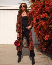 jeans,fall outfits,fall colors,rocky barnes,instagram,blogger,blogger style,top,coat,jacket,kimono,velvet,black boots,sock boots,black pants,handbag,black top