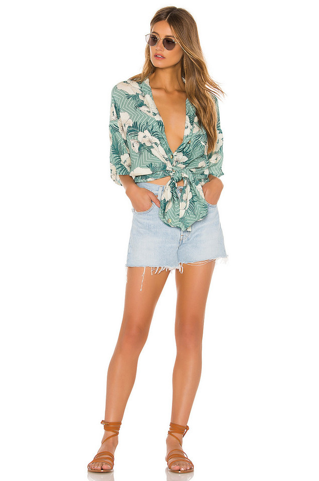 AMUSE SOCIETY Island Oasis Button Up Dress in green