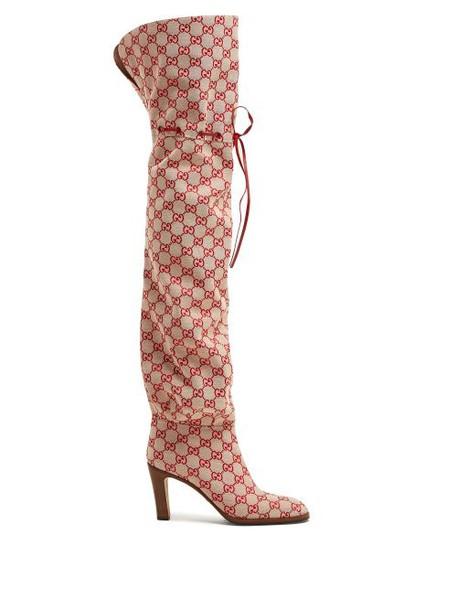 Gucci - Gg Supreme Canvas Boots - Womens - Red Multi