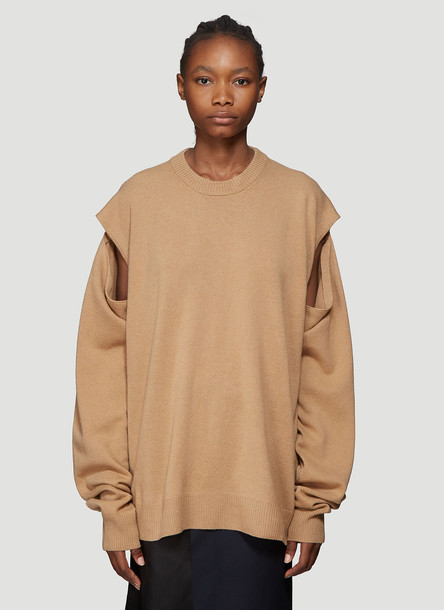 Maison Margiela Wool and Cashmere Blend Sweater in Brown size S
