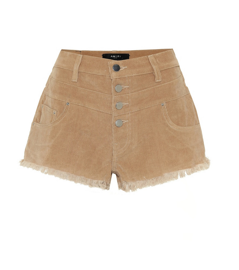 Amiri High-rise corduroy shorts in brown