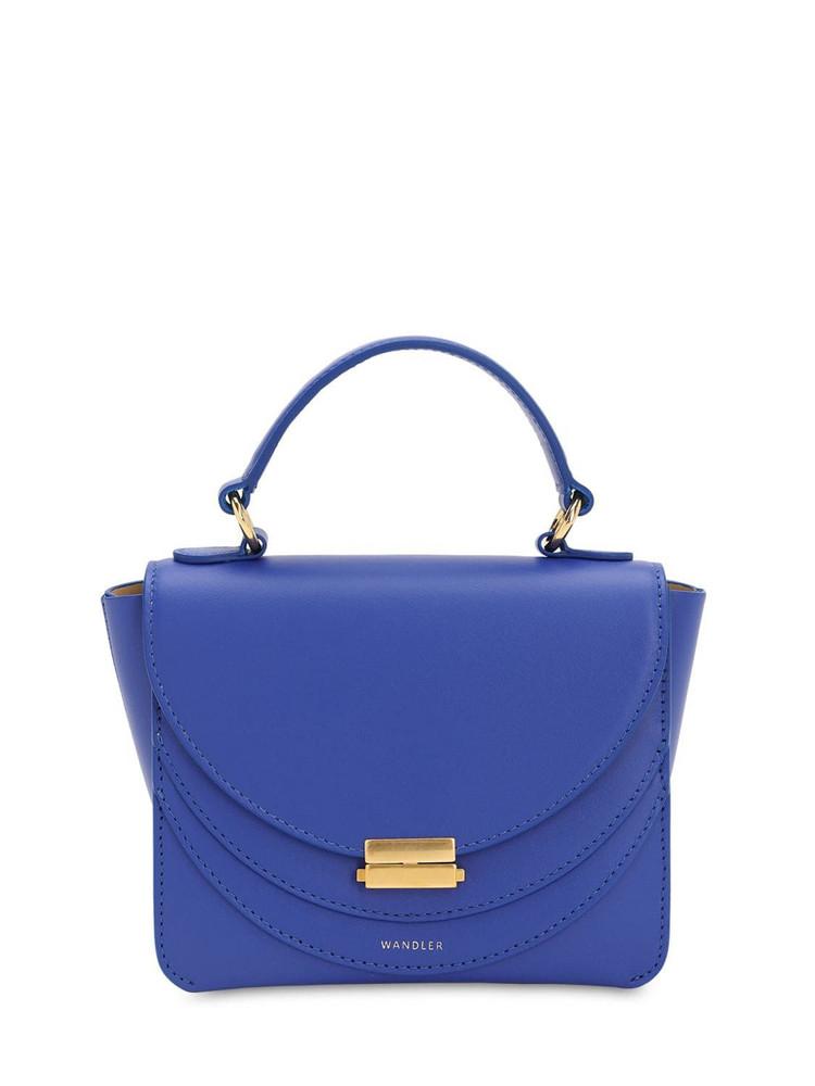 WANDLER Mini Luna Smooth Leather Bag in blue