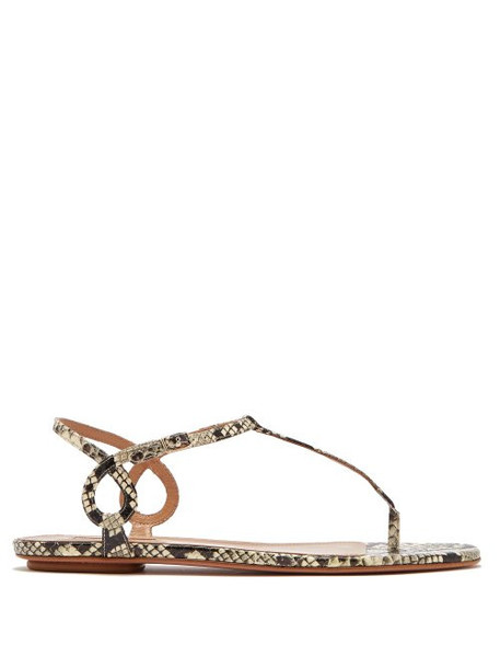 Aquazzura - Almost Bare Python Effect Leather Sandals - Womens - Python