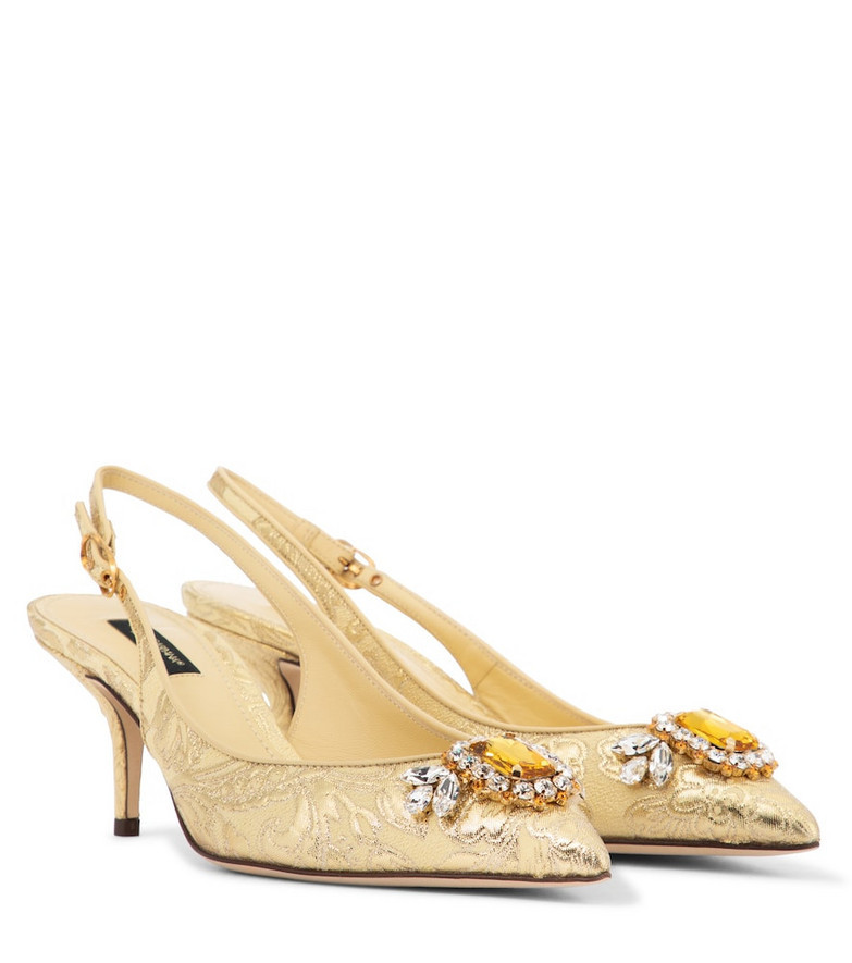 Dolce & Gabbana Embellished brocade slingback pumps in gold