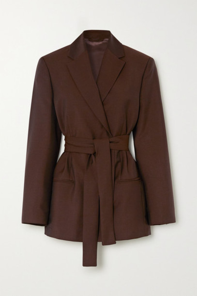 Acne Studios - Janine Belted Double-breasted Wool And Mohair-blend Blazer - Brown