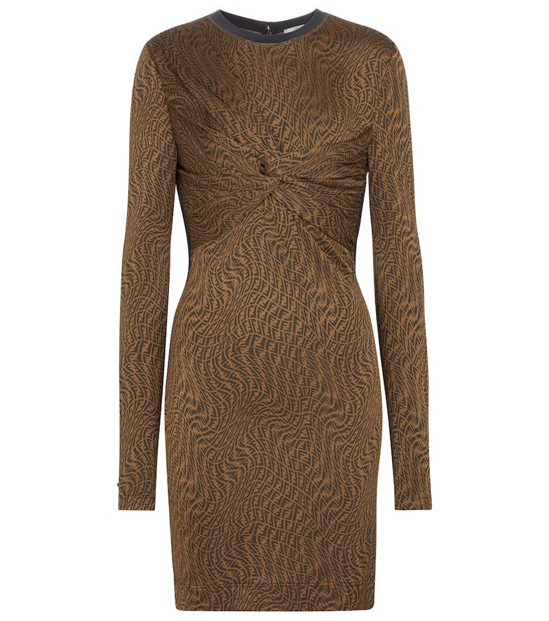 Fendi FF Vertigo jacquard minidress in brown