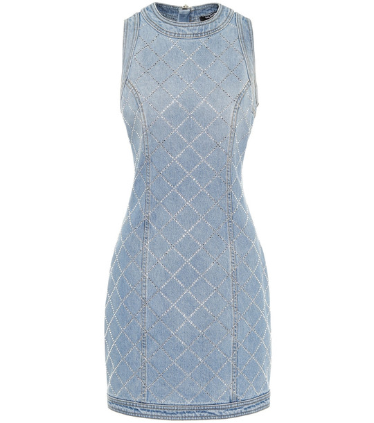 Balmain Embellished denim minidress in blue
